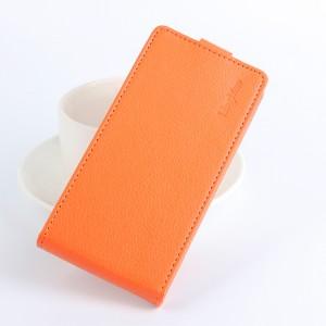Чехол вертикальная книжка на силиконовой основе с отсеком для карт на магнитной защелке для Meizu M3E  Оранжевый