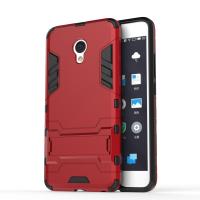 Противоударный двухкомпонентный силиконовый матовый непрозрачный чехол с поликарбонатными вставками экстрим защиты с встроенной ножкой-подставкой для Meizu M3E  Красный