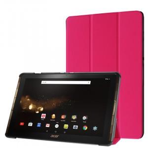 Сегментарный чехол книжка подставка на непрозрачной поликарбонатной основе для Acer Iconia Tab 10 A3-A40 Пурпурный