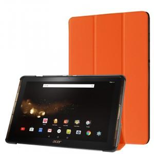 Сегментарный чехол книжка подставка на непрозрачной поликарбонатной основе для Acer Iconia Tab 10 A3-A40 Оранжевый