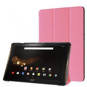 Сегментарный чехол книжка подставка на непрозрачной поликарбонатной основе для Acer Iconia Tab 10 A3-A40 Розовый