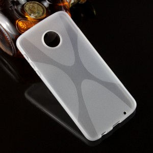 Силиконовый матовый полупрозрачный чехол с дизайнерской текстурой X для Lenovo Moto Z Play  Белый