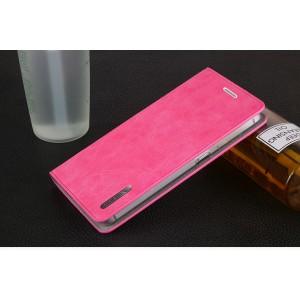 Винтажный чехол горизонтальная книжка подставка с отсеком для карт на присосках для Meizu U10 Розовый