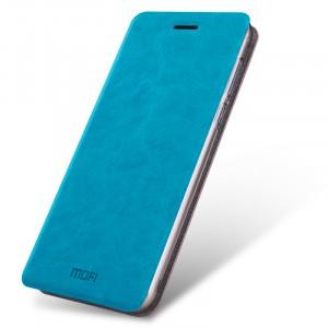 Глянцевый водоотталкивающий чехол горизонтальная книжка подставка на силиконовой основе для Meizu U10 Синий
