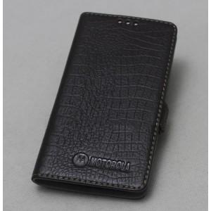 Кожаный чехол горизонтальная книжка подставка (премиум нат. кожа крокодила) с крепежной застежкой для Lenovo Moto Z Play Черный