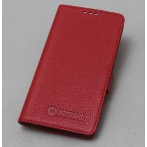 Кожаный чехол горизонтальная книжка подставка (премиум нат. кожа) с крепежной застежкой для Lenovo Moto Z Play