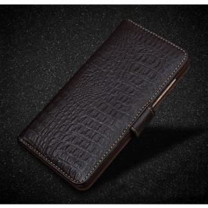 Кожаный чехол портмоне подставка (премиум нат. кожа крокодила) с крепежной застежкой для Lenovo Moto Z Play