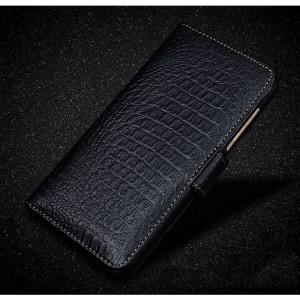 Кожаный чехол портмоне (премиум нат. кожа крокодила) с крепежной застежкой для Lenovo Moto Z Play