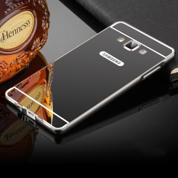 Двухкомпонентный чехол c металлическим бампером с поликарбонатной накладкой и зеркальным покрытием для Samsung Galaxy A7