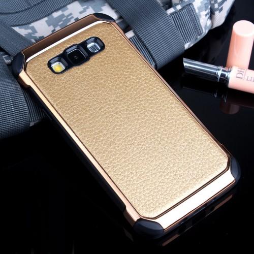 Противоударный двухкомпонентный силиконовый матовый непрозрачный чехол с нескользящими гранями и поликарбонатными вставками экстрим защиты с текстурным покрытием Кожа для Samsung Galaxy A7