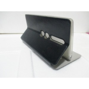 Глянцевый водоотталкивающий чехол горизонтальная книжка подставка на силиконовой основе для Lenovo Phab 2 Pro  Черный