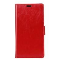 Глянцевый чехол горизонтальная книжка подставка на силиконовой основе с отсеком для карт на магнитной защелке для Lenovo K6 Note Красный