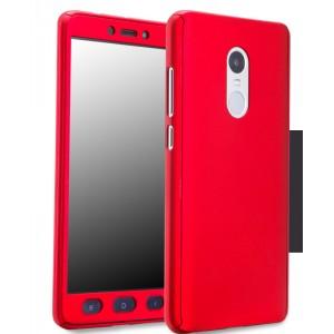 Пластиковый непрозрачный матовый чехол с улучшенной защитой элементов корпуса и экрана для Xiaomi RedMi Note 4 Красный