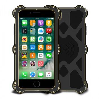 Эксклюзивный многомодульный ультрапротекторный пылевлагозащищенный ударостойкий нескользящий чехол алюминиево-цинковый сплав/силиконовый полимер с закаленным защитным стеклом с кожаной съемной крышкой с окном вызова и свайпом для Iphone 7/8