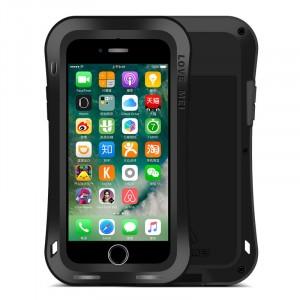 Эксклюзивный многомодульный ультрапротекторный пылевлагозащищенный ударостойкий нескользящий чехол алюминиево-цинковый сплав/силиконовый полимер с закаленным защитным стеклом для Iphone 7 Черный