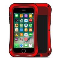 Эксклюзивный многомодульный ультрапротекторный пылевлагозащищенный ударостойкий нескользящий чехол алюминиево-цинковый сплав/силиконовый полимер с закаленным защитным стеклом для Iphone 7 Красный