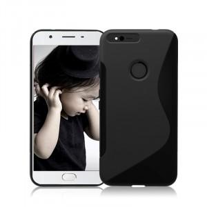 Силиконовый матовый полупрозрачный чехол с дизайнерской текстурой S для Google Pixel XL  Черный