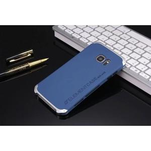 Ударостойкий нескользящий чехол алюминиево-цинковый сплав/силиконовый полимер для Samsung Galaxy S7 Синий