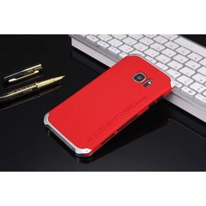 Ударостойкий нескользящий чехол алюминиево-цинковый сплав/силиконовый полимер для Samsung Galaxy S7 Красный