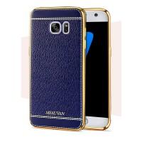 Силиконовый непрозрачный чехол с текстурным покрытием Кожа для Samsung Galaxy S7 Синий