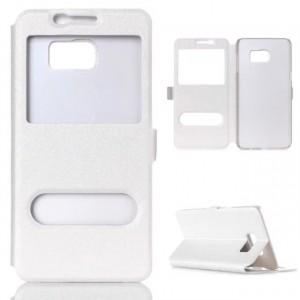 Чехол горизонтальная книжка подставка на пластиковой основе с окном вызова и свайпом на магнитной защелке для Samsung Galaxy S7 Белый