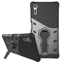 Противоударный двухкомпонентный силиконовый матовый непрозрачный чехол с поликарбонатными вставками экстрим защиты с встроенной ножкой-подставкой для Sony Xperia XZ/XZs Серый