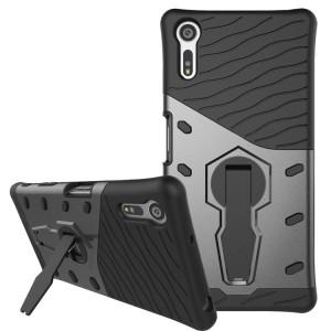 Противоударный двухкомпонентный силиконовый матовый непрозрачный чехол с поликарбонатными вставками экстрим защиты с встроенной ножкой-подставкой для Sony Xperia XZ/XZs