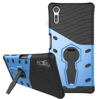 Противоударный двухкомпонентный силиконовый матовый непрозрачный чехол с поликарбонатными вставками экстрим защиты с встроенной ножкой-подставкой для Sony Xperia XZ/XZs Голубой