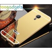 Двухкомпонентный чехол c металлическим бампером с поликарбонатной накладкой и зеркальным покрытием для Meizu MX5 Желтый