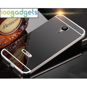 Двухкомпонентный чехол c металлическим бампером с поликарбонатной накладкой и зеркальным покрытием для Meizu MX5 Черный