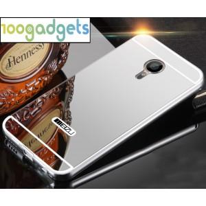 Двухкомпонентный чехол c металлическим бампером с поликарбонатной накладкой и зеркальным покрытием для Meizu MX5 Серый