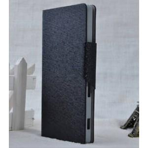 Чехол горизонтальная книжка подставка текстура Золото на пластиковой основе с отсеком для карт на магнитной защелке дляSony Xperia M2 dual Черный