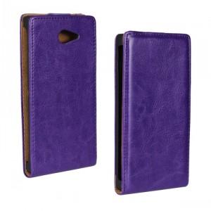 Глянцевый водоотталкивающий чехол вертикальная книжка на пластиковой основе на магнитной защелке для Sony Xperia M2 dual  Фиолетовый