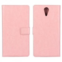 Глянцевый водоотталкивающий чехол горизонтальная книжка подставка на пластиковой основе с отсеком для карт на магнитной защелке для HTC Desire 620 Розовый