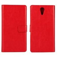 Глянцевый водоотталкивающий чехол горизонтальная книжка подставка на пластиковой основе с отсеком для карт на магнитной защелке для HTC Desire 620 Красный