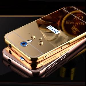Двухкомпонентный чехол c металлическим бампером с поликарбонатной накладкой и зеркальным покрытием для HTC Desire 620