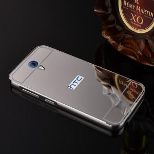 Двухкомпонентный чехол c металлическим бампером с поликарбонатной накладкой и зеркальным покрытием для HTC Desire 620  Серый