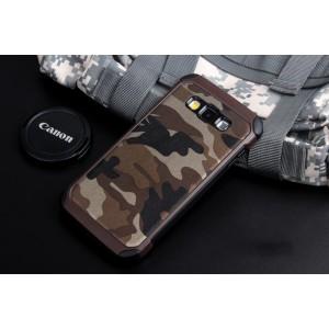 Противоударный силиконовый матовый непрозрачный чехол с нескользящими гранями и поликарбонатными вставками текстура Камуфляж для Samsung J1