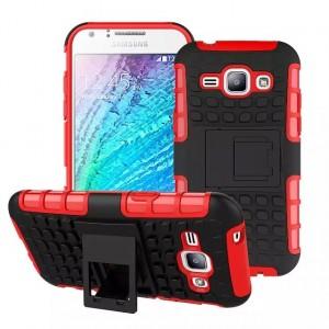 Противоударный силиконовый матовый непрозрачный чехол с нескользящими гранями и поликарбонатными вставками экстрим защиты с встроенной ножкой-подставкой для Samsung J1 Красный