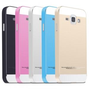 Двухкомпонентный чехол c металлическим бампером с поликарбонатной двухцветной накладкой для Samsung J1