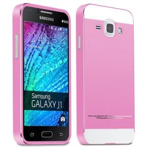 Двухкомпонентный чехол c металлическим бампером с поликарбонатной двухцветной накладкой для Samsung J1  Розовый