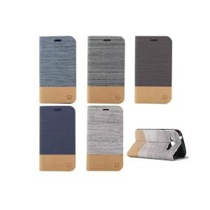 Чехол горизонтальная книжка подставка на силиконовой основе с отсеком для карт и тканевым покрытием для Samsung J1