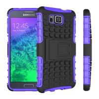 Противоударный силиконовый матовый непрозрачный чехол с нескользящими гранями и поликарбонатными вставками экстрим защиты с встроенной ножкой-подставкой для Samsung Galaxy Alpha  Фиолетовый