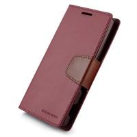 Чехол горизонтальная книжка подставка на силиконовой основе с отсеком для карт на дизайнерской магнитной защелке для Sony Xperia C Бордовый