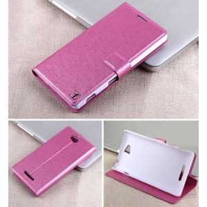 Чехол горизонтальная книжка подставка на пластиковой основе с отсеком для карт на магнитной защелке для Sony Xperia C  Пурпурный