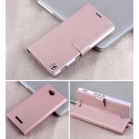Чехол горизонтальная книжка подставка на пластиковой основе с отсеком для карт на магнитной защелке для Sony Xperia C  Розовый