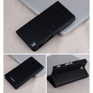Чехол горизонтальная книжка подставка на пластиковой основе с отсеком для карт на магнитной защелке для Sony Xperia C  Черный