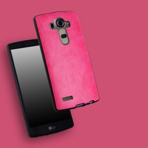 Силиконовый матовый непрозрачный чехол с текстурным покрытием Кожа для LG G4  Розовый