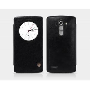 Чехол горизонтальная книжка текстура Кожа на пластиковой основе с окном вызова для LG G4 Черный