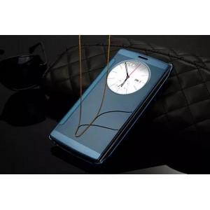 Чехол горизонтальная книжка на пластиковой основе с зеркальной поверхностью и окном вызова для LG G4  Синий